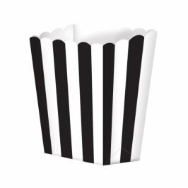 Pack de 5 cajitas para palomitas negras y blancas