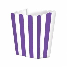 Pack de 5 cajitas para palomitas violetas y blancas
