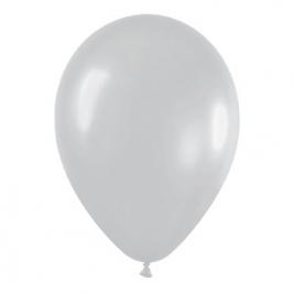 Pack de 50 globos de látex plata satinada