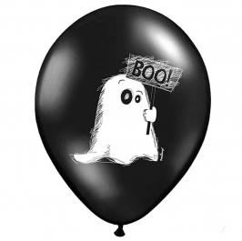 Pack de 6 globos negros fantasmas