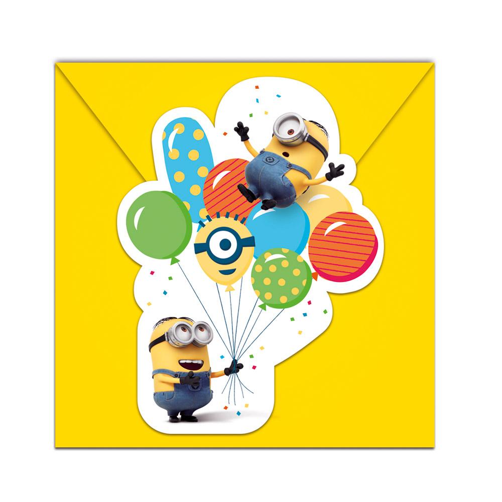 Pack de 6 Invitaciones Minions Party