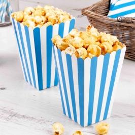 Pack de 8 cajas para Palomitas azul celeste y blanca