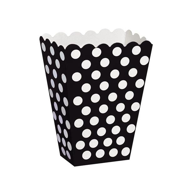 Pack de 8 Cajas para Palomitas Negras con Lunares