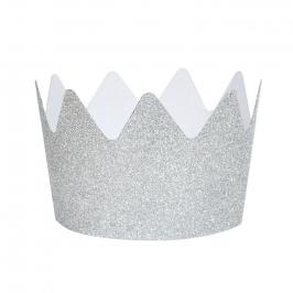 Pack de 8 Coronas de Purpurina Plateadas