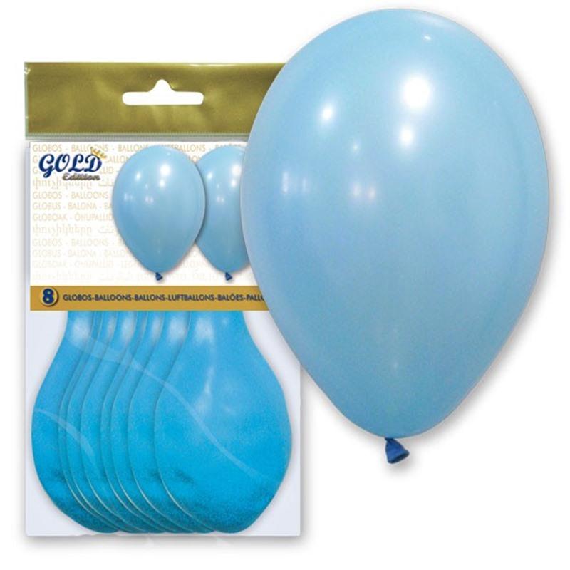 Pack de 8 globos Celeste Pastel