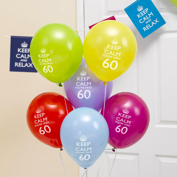 Pack de 8 Globos Keep Calm 60 Años