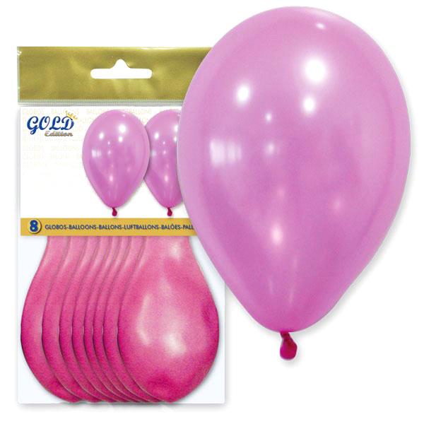 Pack de 8 Globos Rosa Metalizado