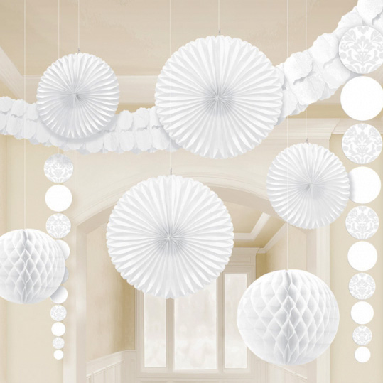 Pack de 9 decoraciones colgantes Damasco Blanco
