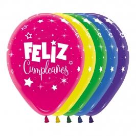 Pack de 12 Globos Feliz Cumpleaños Dúo Fantasía 30 cm