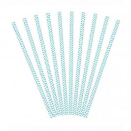 Pack de 24 Pajitas de Papel Chevron Azul Claro