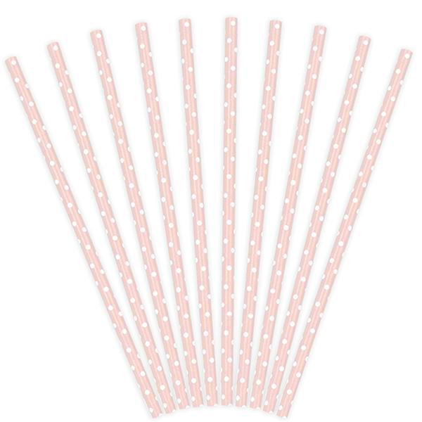 Pack de 10 Pajitas de Papel Rosa Bebé con Lunares Blancos