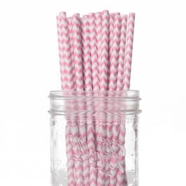 Set de 25 pajitas rosa chevron
