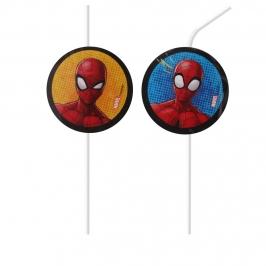 Juego de 6 Pajitas de Plástico Spiderman