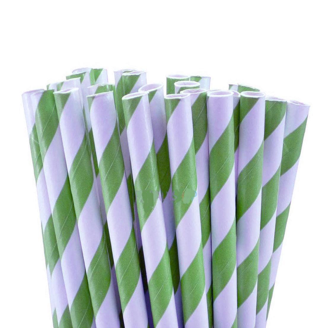 Pajitas Verdes y blancas para cake pops y bebidas