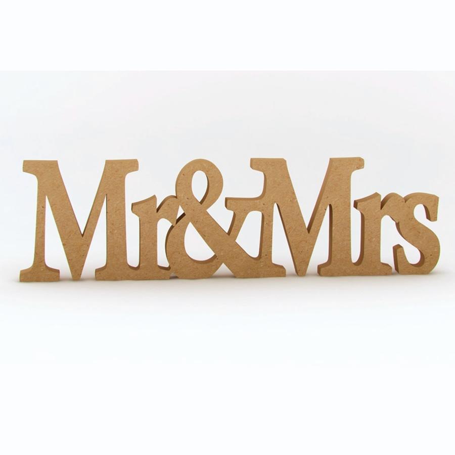 Palabra Decorativa de Madera Mr & Mrs 50 cm