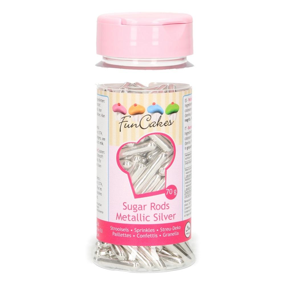 Palitos Azúcar Plata Metalizada XL