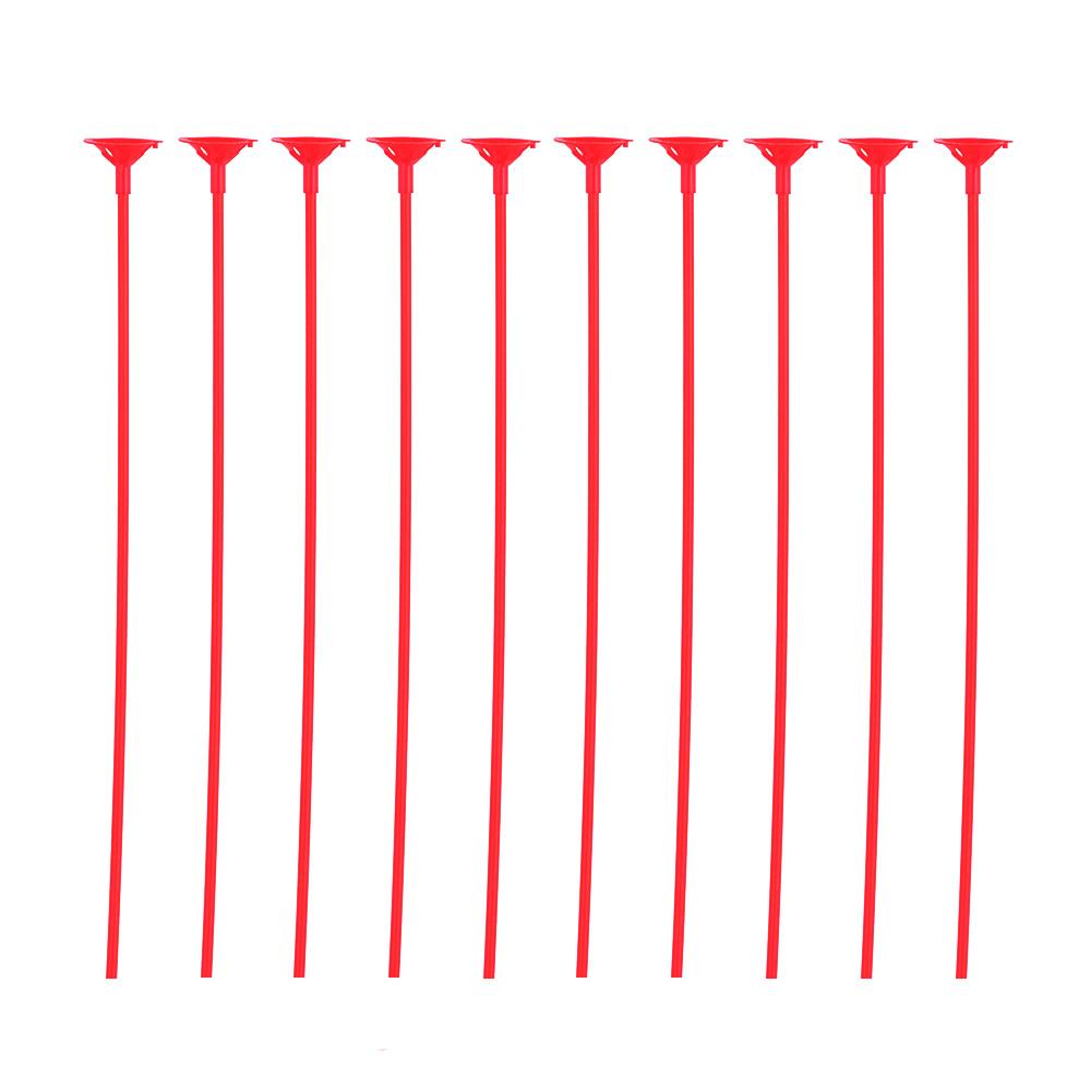 Pack 10 Palitos con Soporte para Globos Color Rojo
