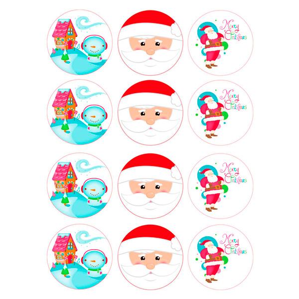 Juego de 12 Impresiones en Papel de Azúcar Navidad