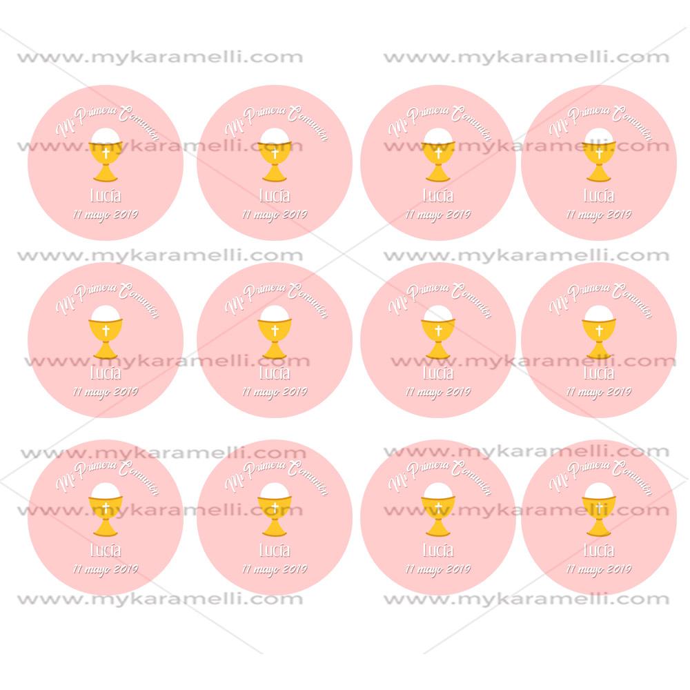 Papel de Azúcar Comunión Cáliz Rosa 6 cm
