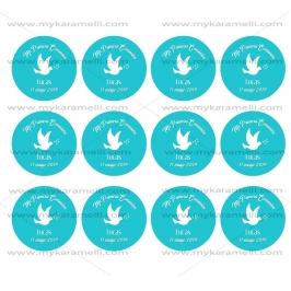 Papel de Azúcar Comunión Paloma Azul 6 cm