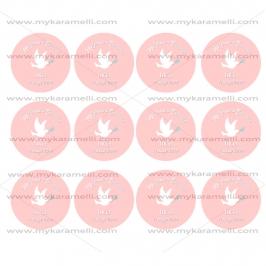 Papel de Azúcar Comunión Paloma Rosa 6 cm