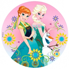Impresión en papel de azúcar Elsa, Anna y Olaf 20cm