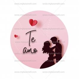 Papel de oblea San Valentín Modelo Te amo 15 cm