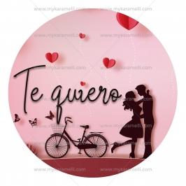 Papel de oblea San Valentín Modelo Te quiero 20 cm
