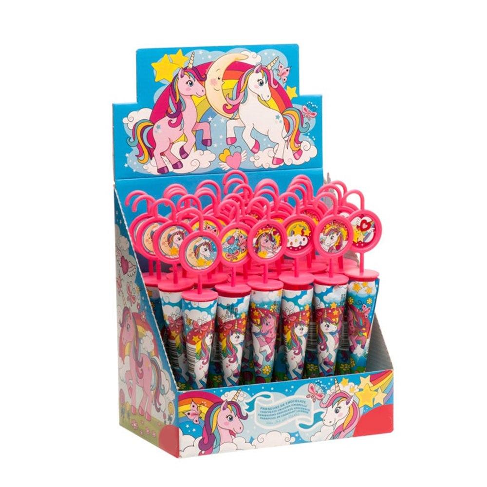 Paraguas Chocolate Unicornio 30 Unidades