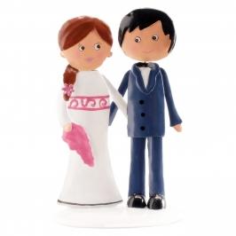 Figura para tarta pareja de boda metal 16 cm