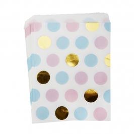 Pack 25 Bolsitas Lunares Azul, Dorado y Rosa