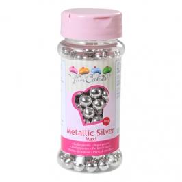 Perlas metálicas plata 8 mm