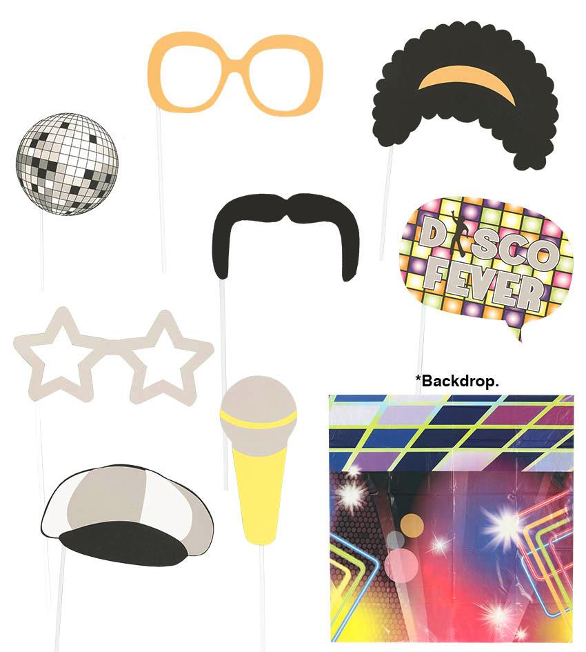 Set Photocall Música Disco 9 piezas