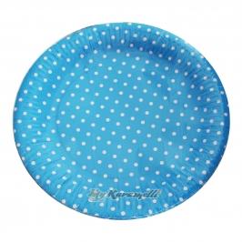 Juego de 10 platos de Papel Blue Polkadot