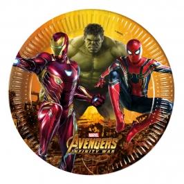 Juego de 8 Platos Vengadores Infinity War 23 cm