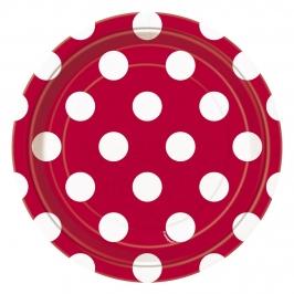 Plato Lunares Rojo y Blanco 17,5 cm