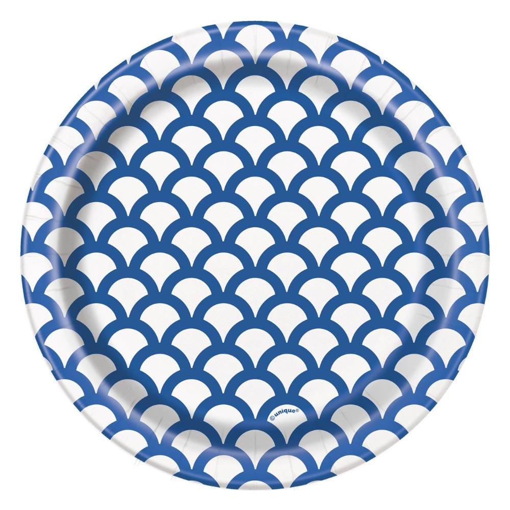 Plato Modelo Escama Azul y Blanco