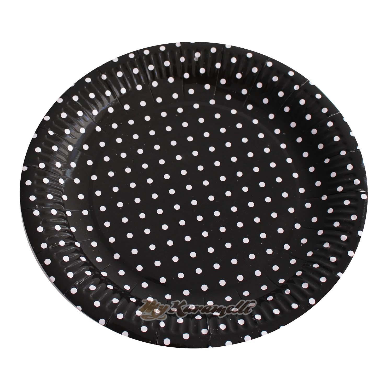 Juego de 10 platos de Papel Black Polkadot