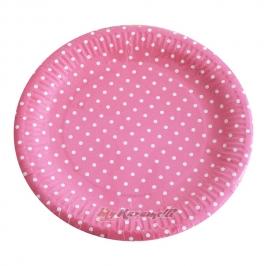 Juego de 10 platos de Papel Hot Pink Polkadot