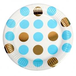 Platos Blancos con Lunares Azules y Dorados