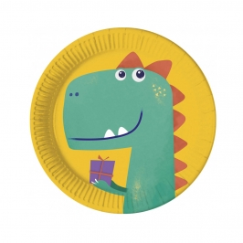 Platos de Papel Compostables Dinosaurio Roar 23 cm 8 ud