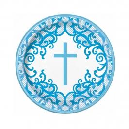 Platos de Papel Comunión Azul 22 cm 8 ud