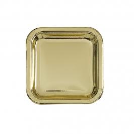 Platos de Papel Cuadrados Dorados 17 cm 8 ud
