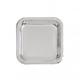 Platos de Papel Cuadrados Plata 17 cm 8 ud