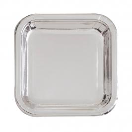 Platos de Papel Cuadrados Plata 22 cm 8 ud