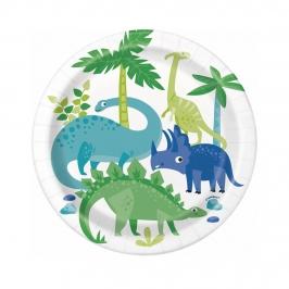 Platos de Papel Dinosaurio Azul y Verde 17 cm 8 ud