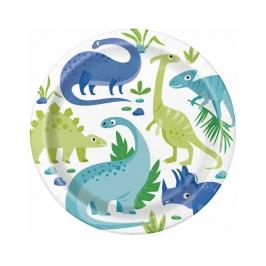 Platos de Papel Dinosaurio Azul y Verde 22 cm 8 ud