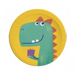 Platos de Papel Dinosaurio Roar 23 cm 8 ud