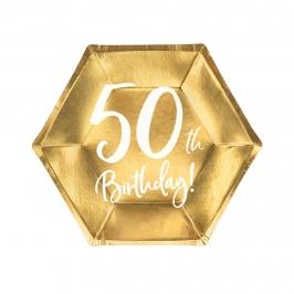 Platos de Papel Dorados 50 Años 20 cm 6 ud