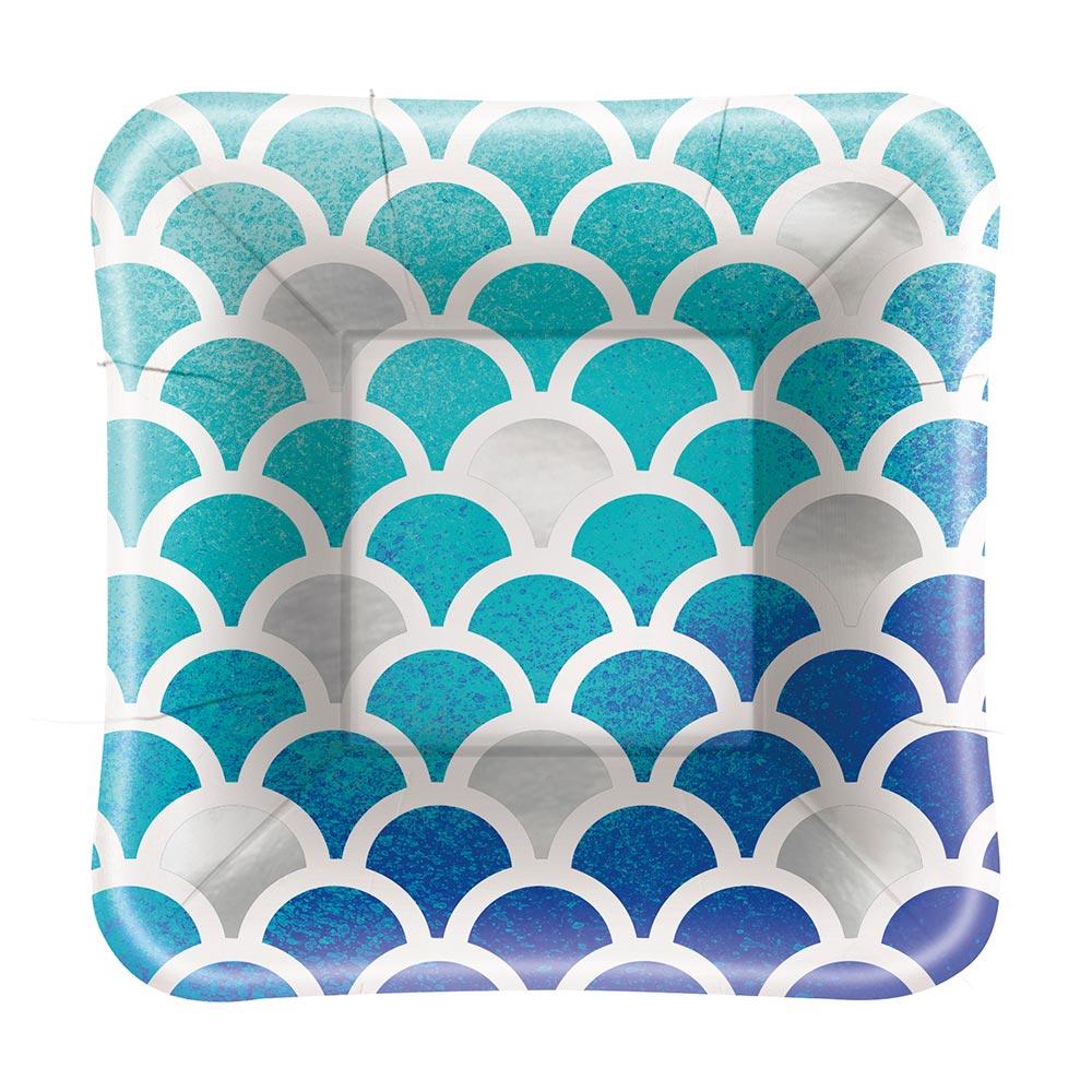 Juego de 8 Platos Sirena Azul y Morado 13 cm